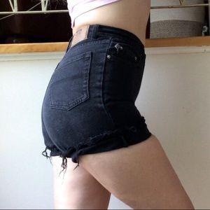 High Waist Distressed Black Shorts Frayed